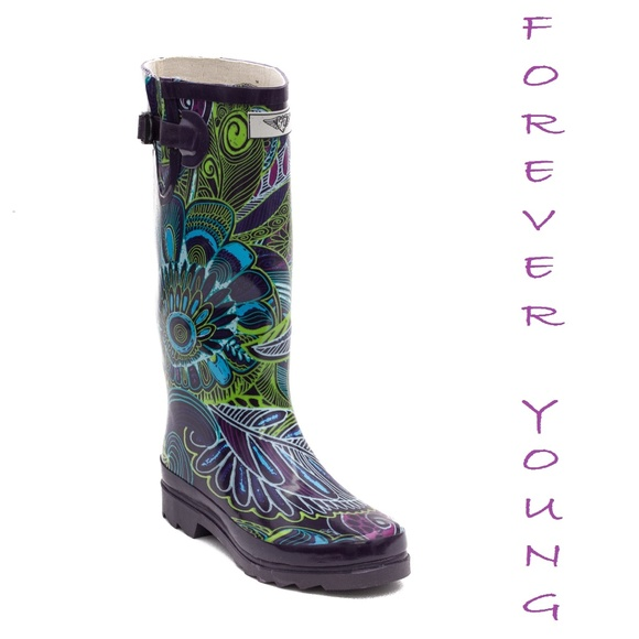 Forever Young Shoes Women Tall Patterned Rain Boots 60 Bloom Amazing Patterned Rain Boots